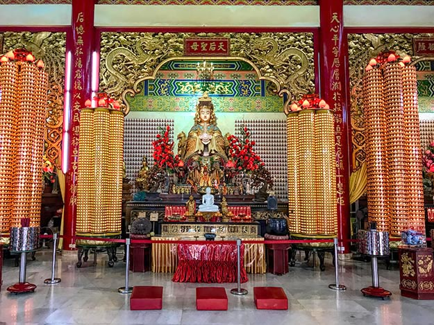 Mazu, the Chinese Goddess of the Sea, is one of three female deities worshiped at Thean Hou Temple