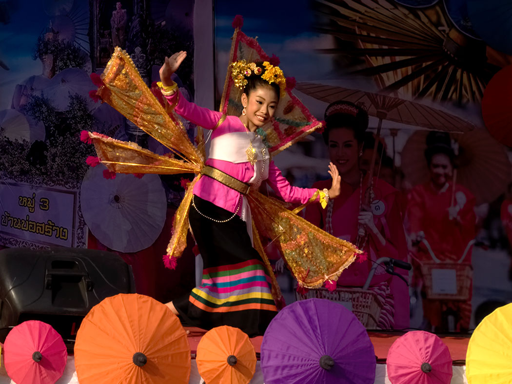 Traditional King Ka-La Dance is performed during the Umbrella Festival in Bo Sang Village in northern Thailand