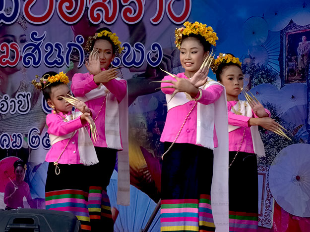 Fon Lep Fingernail Dance is performed at the Bo Sang Umbrella Festival in northern Thailand