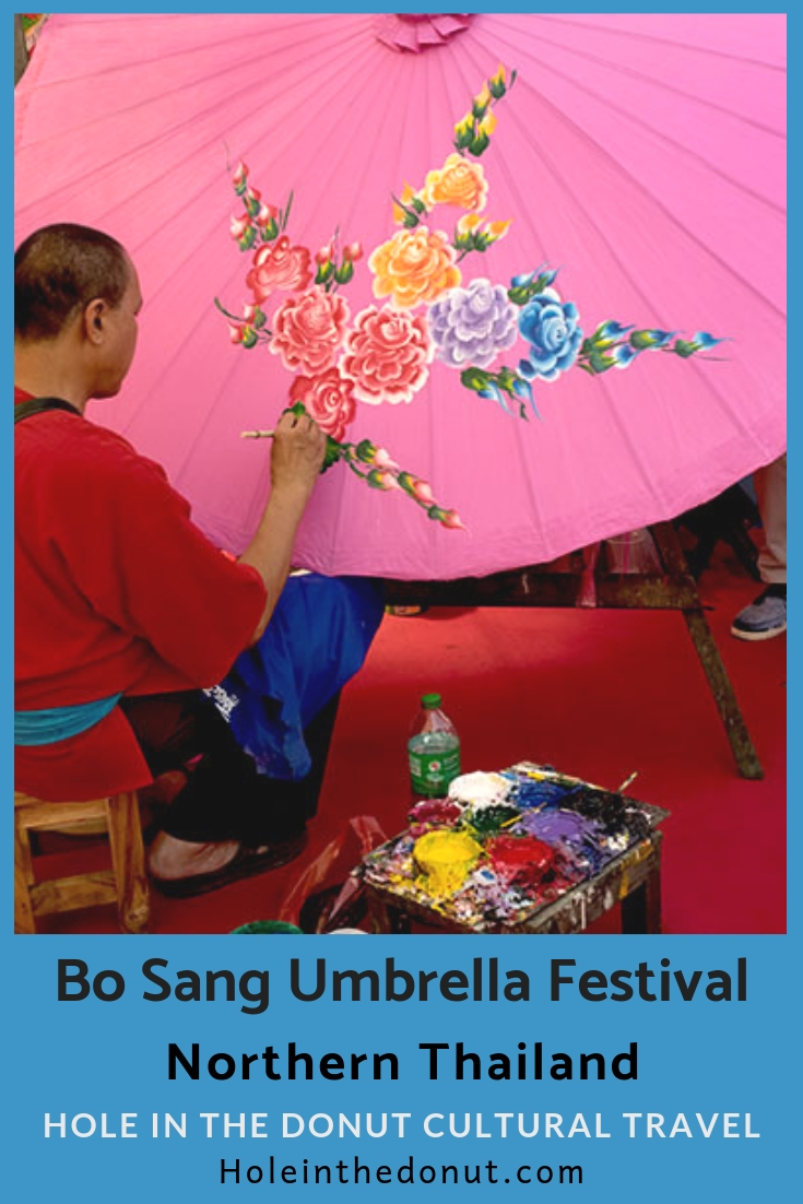 Each year during the third weekend in January, the Bo Sang Umbrella Festival is held in the craft village of Bo Sang, near Chiang Mai, Thailand.