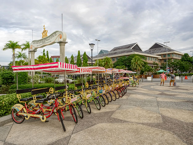 Bicycle surreys for rent in the center of Bandar Seri Begawan, the capital of Brunei