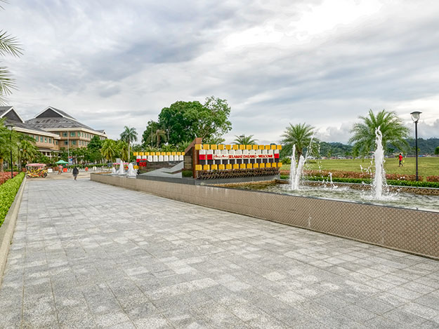 Long oval-shaped fountain in the city center of Bandar Seri Begawan represents an oil tanker