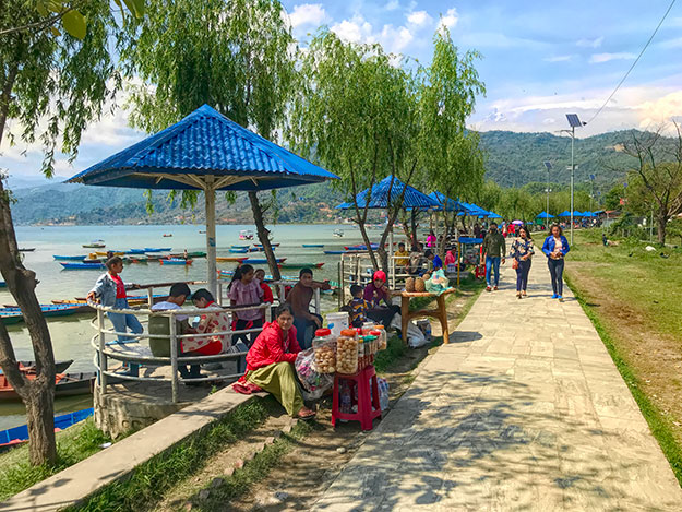 People flock to Fewa Lake in Pokhara to celebrate New Year in Nepal