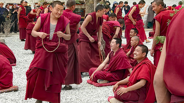 Buddhist monks debating the philosophy of Buddhism at Sera Monastery in Lhasa,Tibet