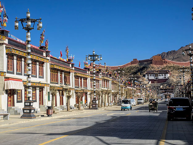 Old Town of Gyantse, Tibet, with view to Palkor Choeda Monastery