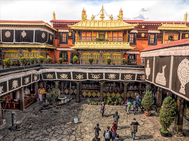 Inner courtyard at Jhokhang Temple in Lhasa, Tibet