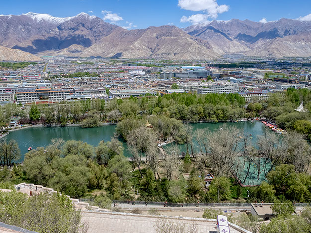 View of the lake and city park from the top of the Potala Palace in Lhasa, Tibet