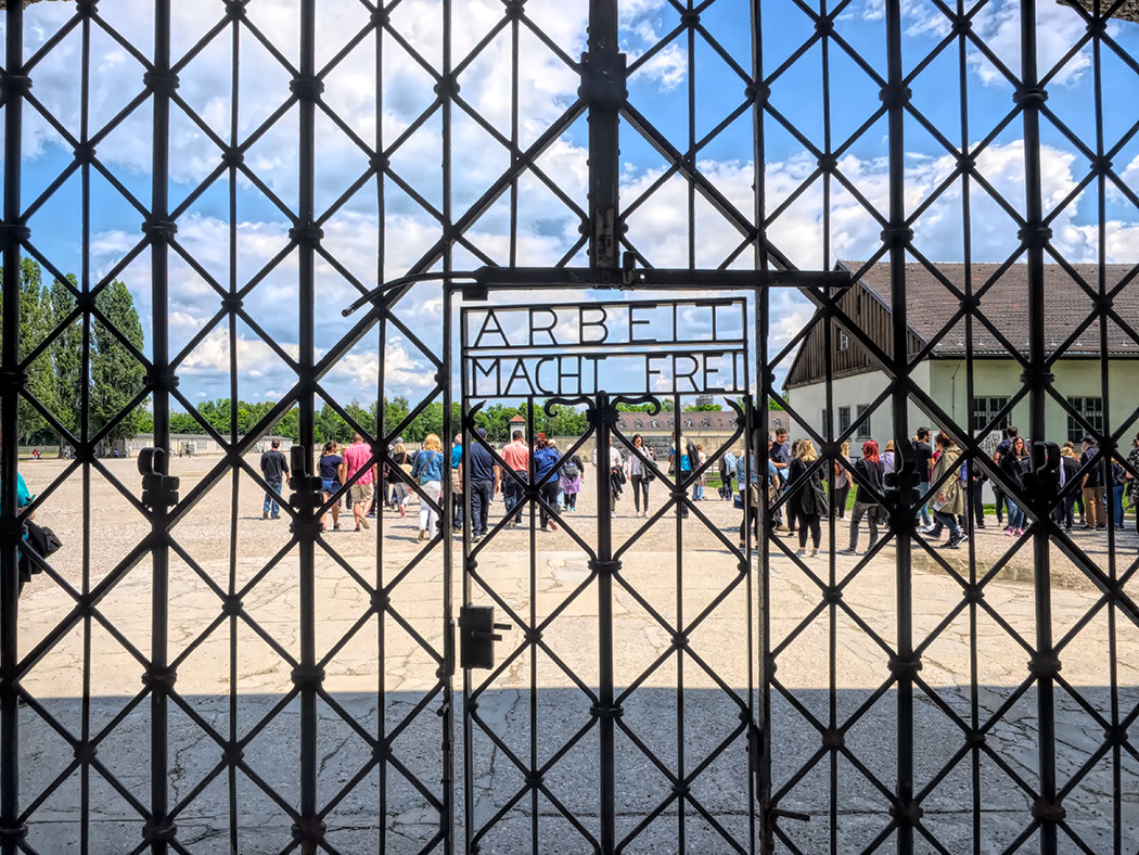Entrance gate at Dachau Concentration Camp features the famous Arbeit Macht Frei (Work Makes You Free) slogan