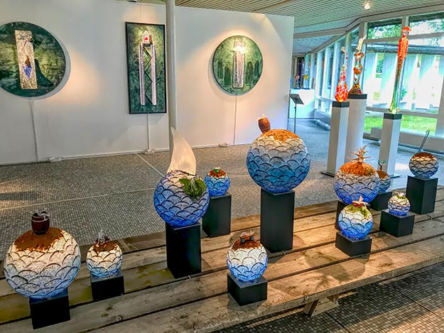 Glass works of art produced by the Glassblowers at Kosta Boda Glassworks in Sweden