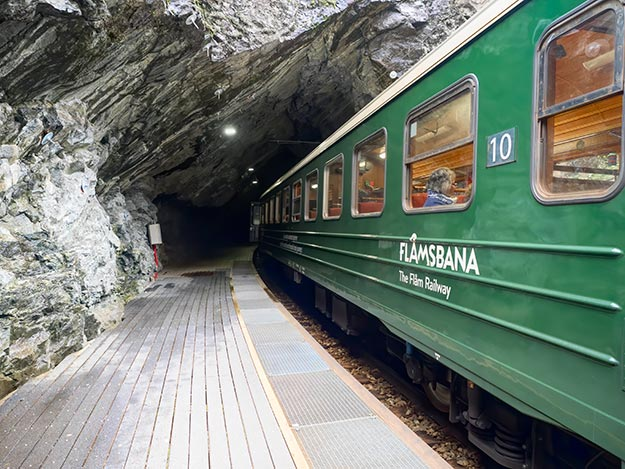 Flam Railway enters one of 20 tunnels along the 12-mile route