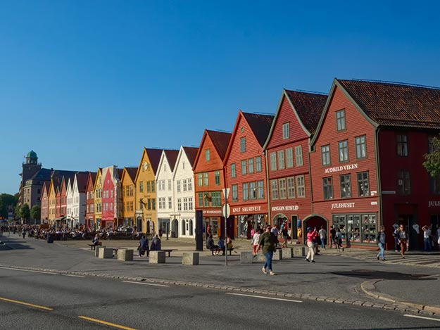 Old wooden guild houses in Bryggen, location of the original Hanseatic Wharf in Bergen, Norway