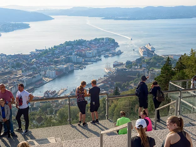 View over Vaagen Bay and the city of Bergen from the viewing platform atop mount Ulriken
