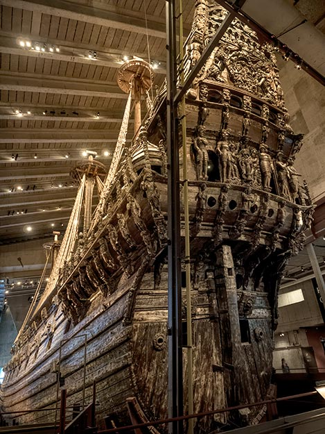The aft end of the Vasa, covered in hand-carved wooden sculptures that were partially responsible for its sinking