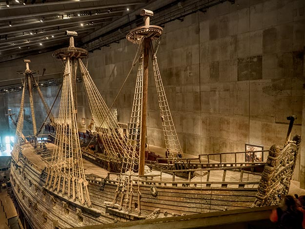 View of the Vasa Warship from the highest balcony in the Vasa Museum
