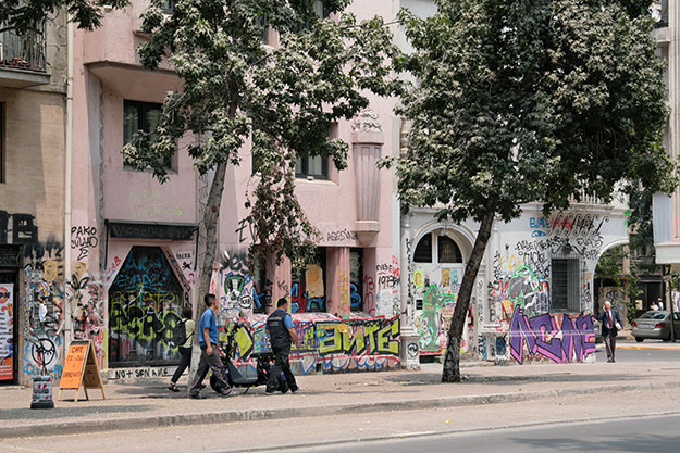 These graffiti covered buildings surrounding Plaza Italia might beg the question is it safe to visit Santiago at this time, but most of the time, things were fairly peaceful.