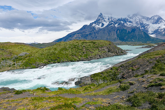Raging Paine River descends toward Salto Grande Waterfall and Pehoé Lake