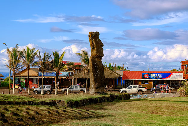 Easter Island Moai in front of a shopping center in the capital city of Hanga Roa