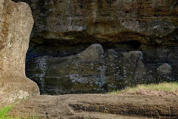 Giant Moai at the quarry on Easter Island, ready to be extracted and moved to an ahu