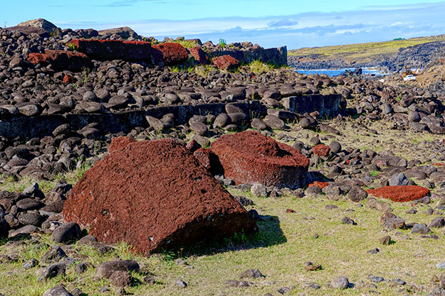 red stone hats (Pukao) of the moai on Easter Island
