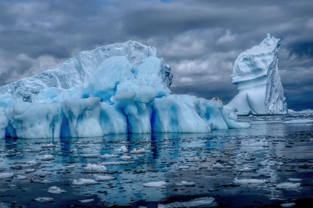 Icebergs of Antarctica, shaped by wind and water