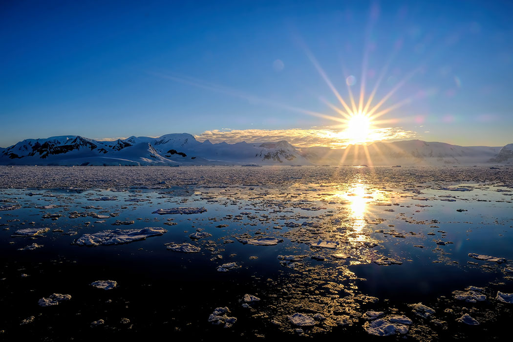 Sunrise at the Head of the Lemaire Channel, Antarctica