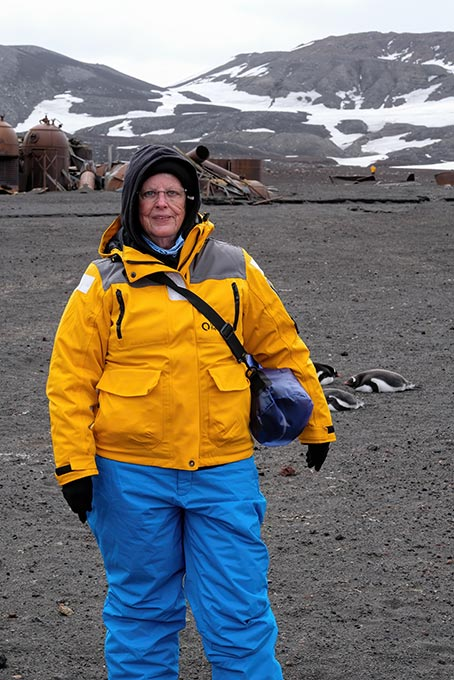 I'm not really this fat. I just have four layers of clothes on underneath the expedition jacket and waterproof pants. I was actually too warm and had to peel off layers. On later shore trips, I pared down to just two layers.