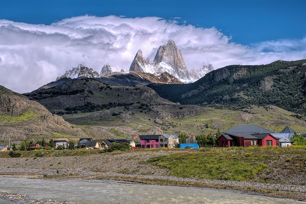 Mount Fiz Roy provides a gorgeous backdrop for the community of El Chalten Argentina