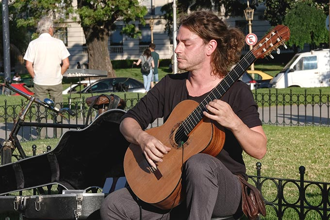 Guitarist performs at Plaza Intendente Alvear, in the heart of the Recoleta neighborhood