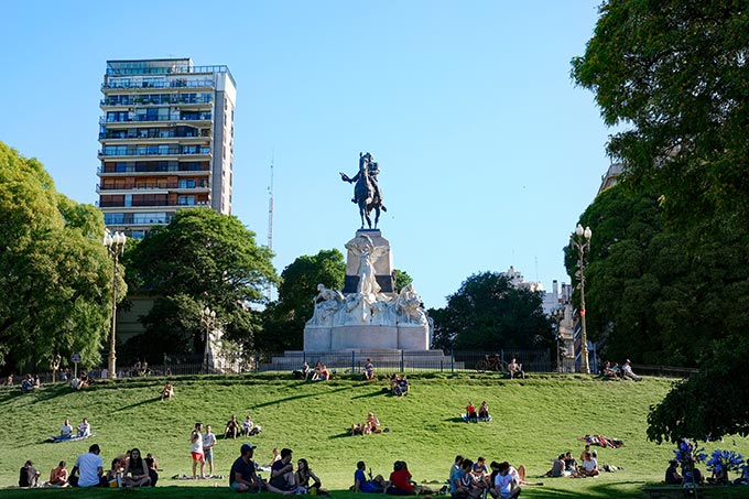 Bartolomo Mitre Monument crowns Plaza Mitre, a popular place to picnic and lie in the sun