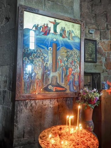 Jvari Monastery in Mtskheta Georgia painting showing magical column from a Cypress tree that once stood on the site where Svetitskhoveli Cathedral now stands