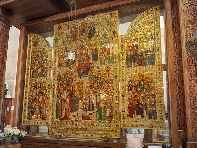 Hope of Georgia gold and jewel encrusted Icon on display inside Holy Trinity Cathedral