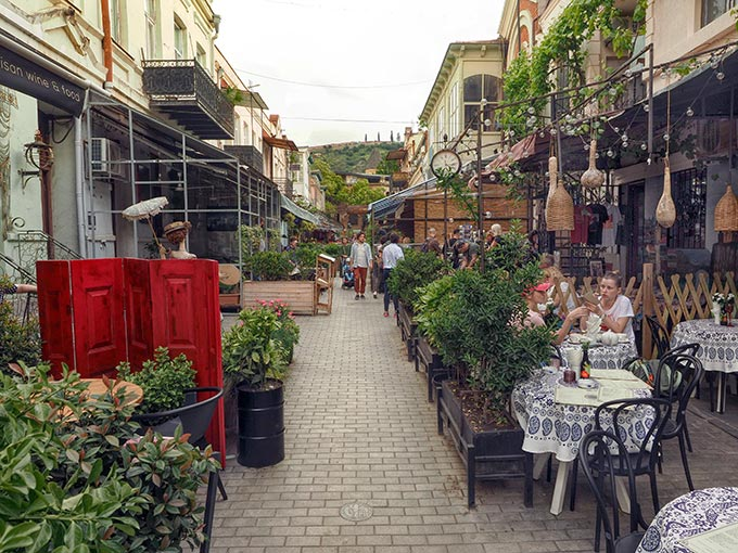 Pedestrian street with sidewalk cafes in Tbilisi's Old Town