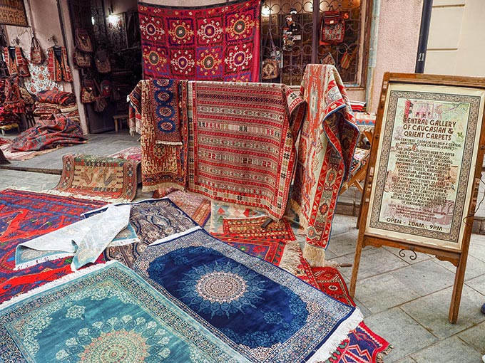 Shop in the Old Town sells hand-made carpets from the Cacausus region