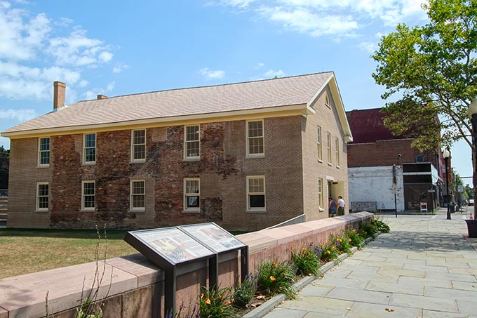 Side of the restored Wesleyan Chapel shows the significant amount of restorative work that was needed before it could become the centerpiece of the Women's Rights National Historical Park