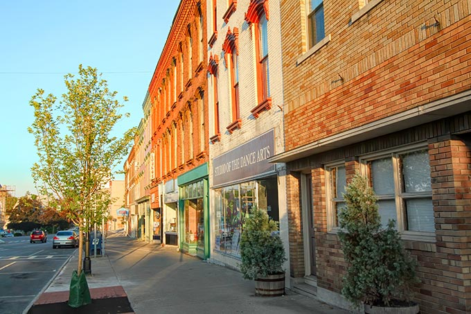 Historic brick buildings in the center of Seneca Falls NY