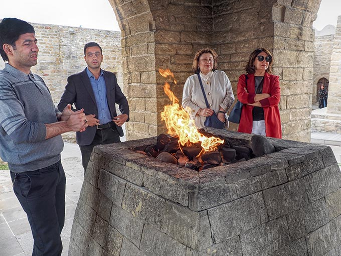"The ""eternal flame"" at Ateshgah of Baku is today lit by natural gas piped in from the town, as the natural flame died out in 1969 due to over-exploitation of gas and oil deposits in the area"