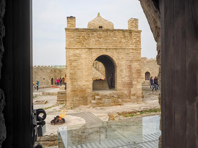The eternal flames at Ateshgah (Fire Temple) of Baku, now fueled by natural gas piped in from the city