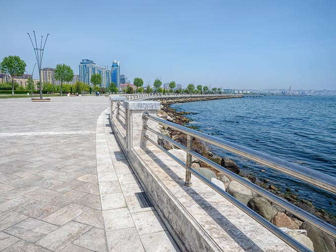 Baku's White City Boulevard on the shores of the Caspian Sea