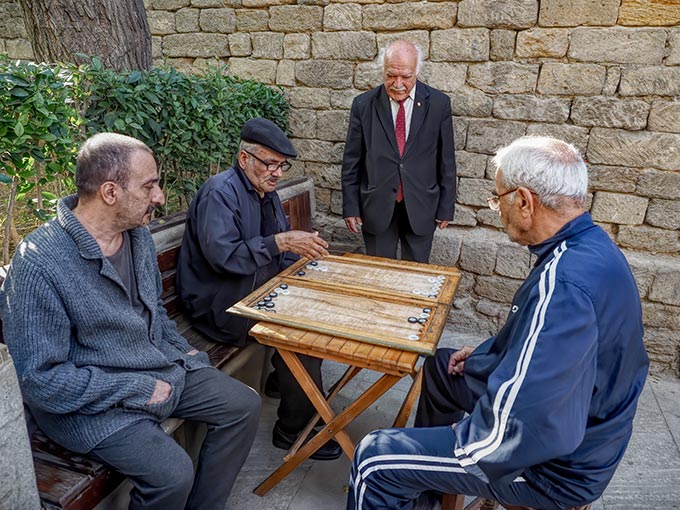 Azeri men playing a board game known as Nard. They were only too happy to let me watch and take photos.