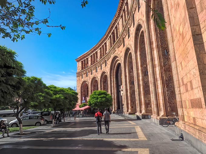 """isiting Armenia - Marriott Hotel on Republic Square in Yerevan is a fine example of the pink tuff construction that gives Yerevan its nickname, """"The Pink City"""""""