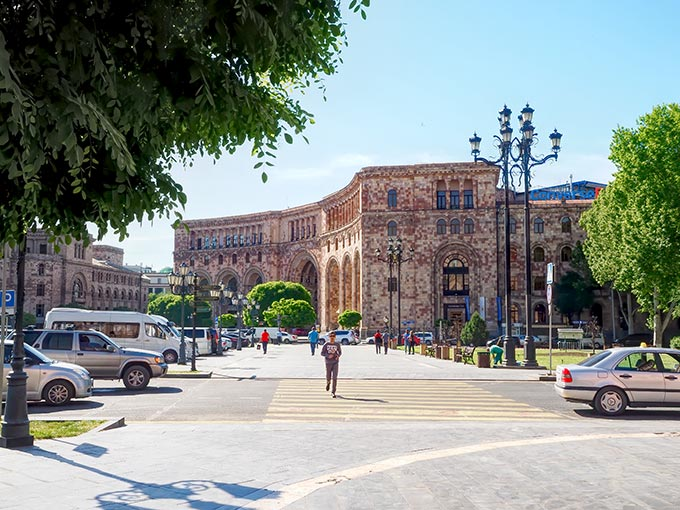 Visiting Armenia - The Post Office building on Republic Square, also constructed from pink volcanic tuff