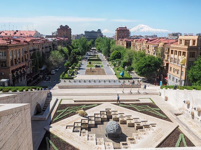 Visiting Armenia - View over Yerevan while walking up the Cascade, with Mount Ararat and Little Mount Ararat in the distance