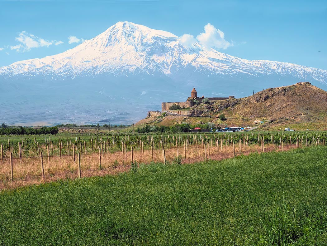 Khor Virap Monastery in Armenia, against a backdrop of Turkey's Mount Ararat