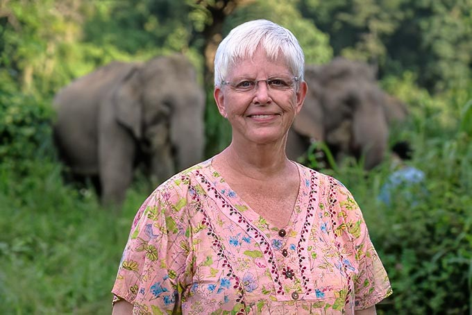 Standing in front of the herd at the Elephant Conservation Center in Lampang, Thailand