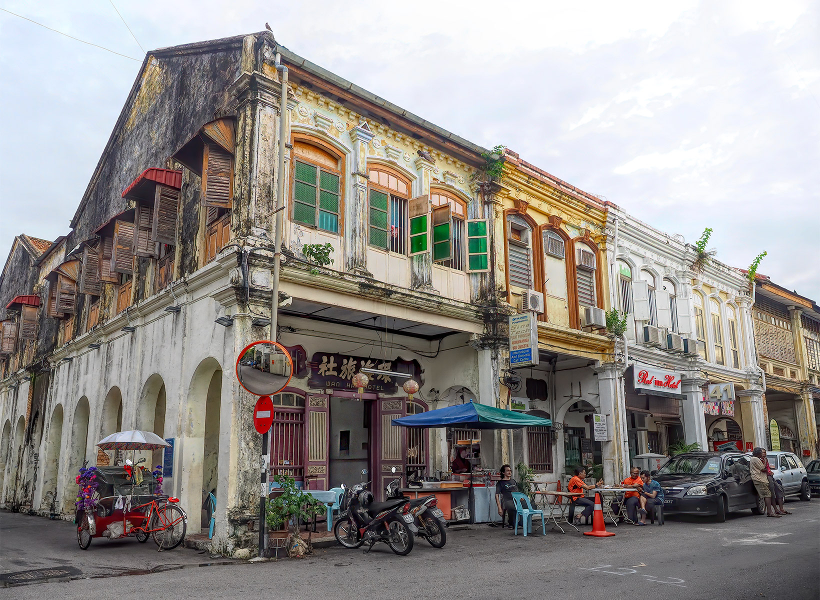 Chinese Shophouse Row in George Town Penang Malaysia