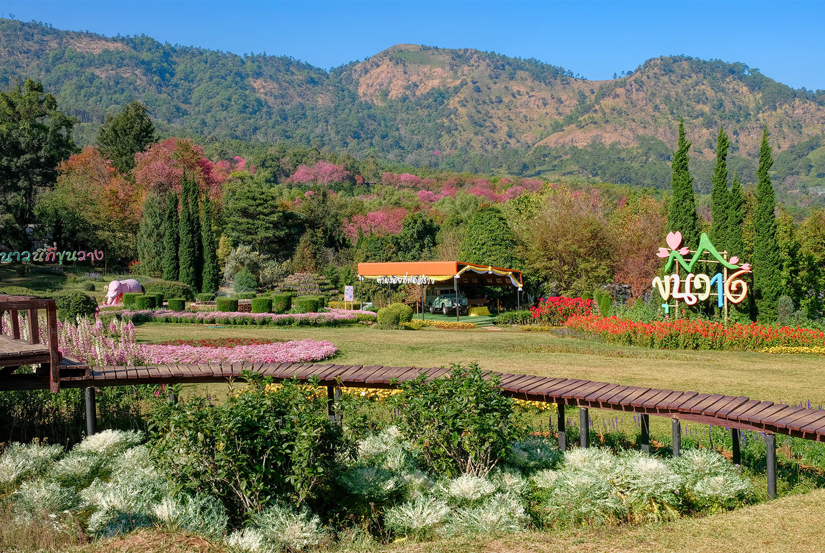 Formal gardens at the Royal Agricultural Research Center in Doi Inthanon National Park in northern Thailand