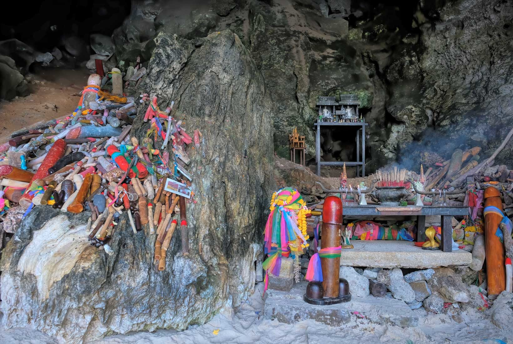 According to local legend, a hermit used magic to turn a bride into Phranang Cave at wedding gone bad. Today many Thais come to Phranang Cave to pray for love and add to the stack of wooden penises that surround the altar.