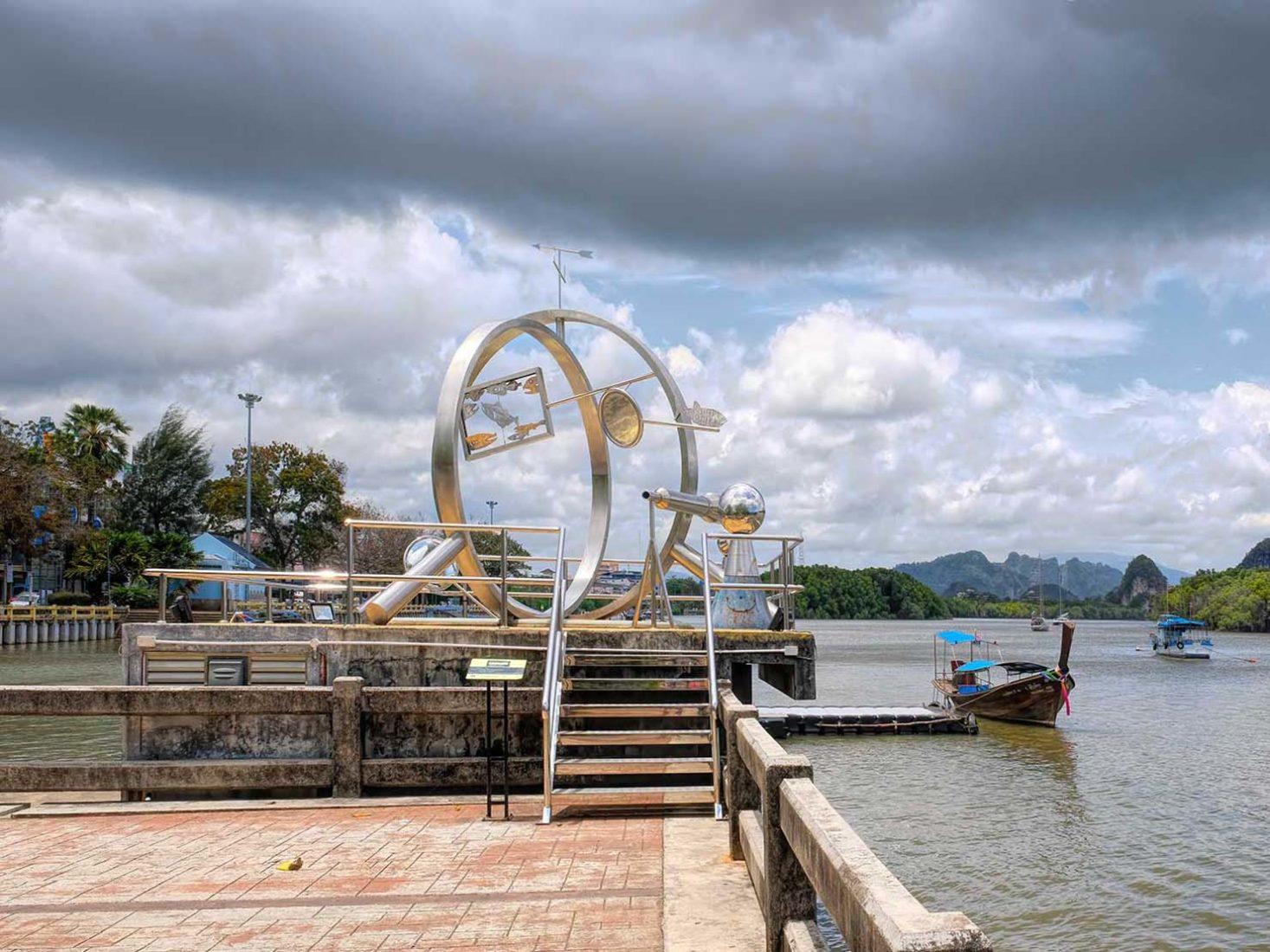 One of many outdoor sculptures along the riverfront in Krabi Town